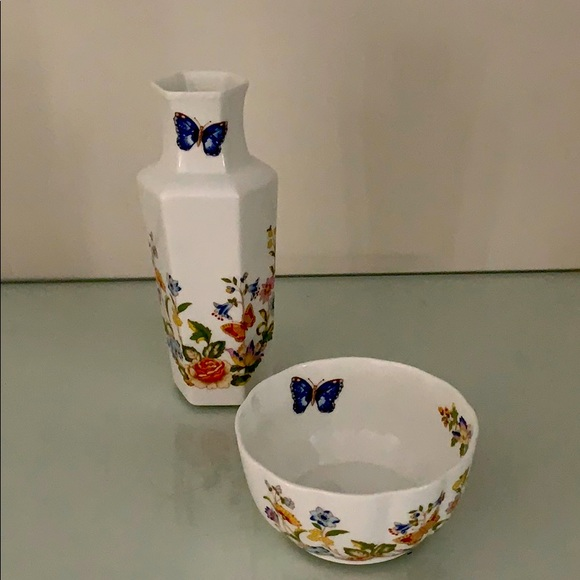 "Aynsley ""Cottage Garden"" vase and bowl. EUC!"